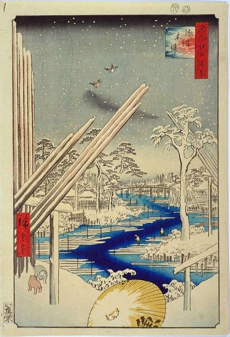 Wood storage in Fukagawa by Utagawa Hiroshige