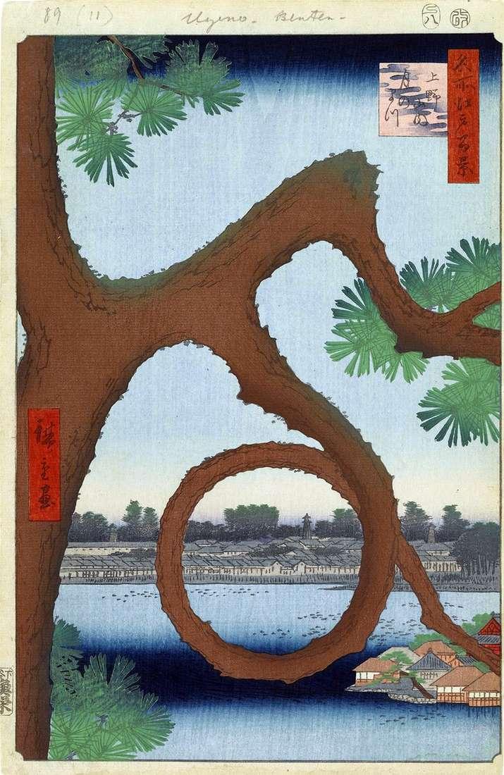 Moon pine on the territory of the monastery in Ueno by Utagawa Hiroshige