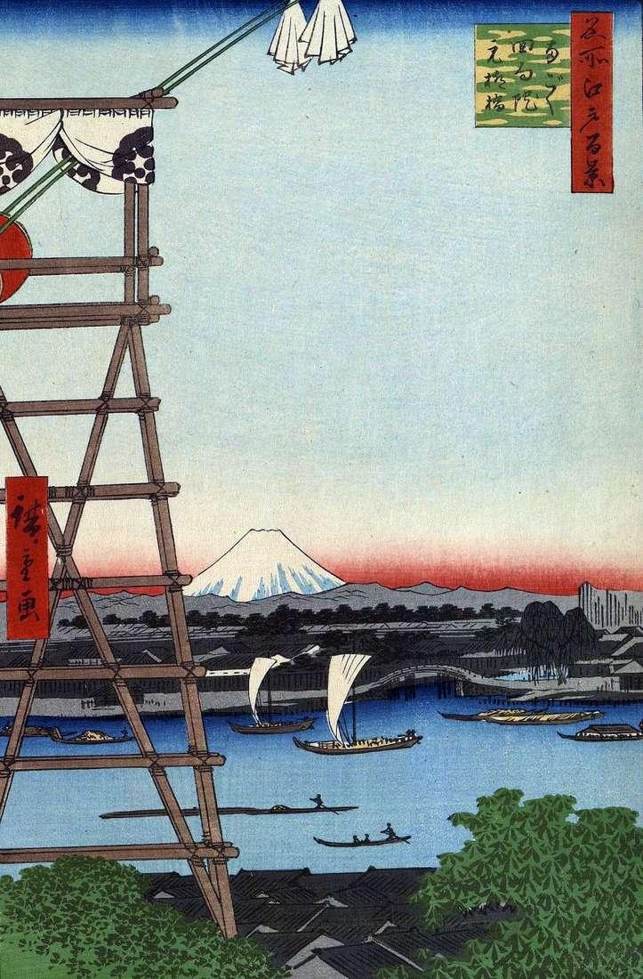 Monastery of Ekoin in Regoku and Moto Yanagibashi Bridge by Utagawa Hiroshige