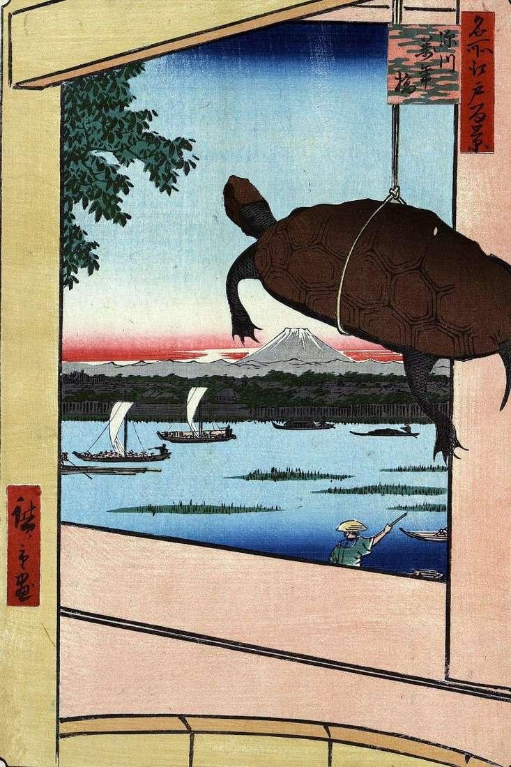 Mannambasi Bridge in Fukagawa by Utagawa Hiroshige