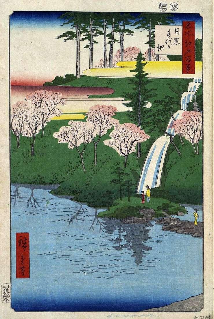 Meguro, pond Tiegaike by Utagawa Hiroshige
