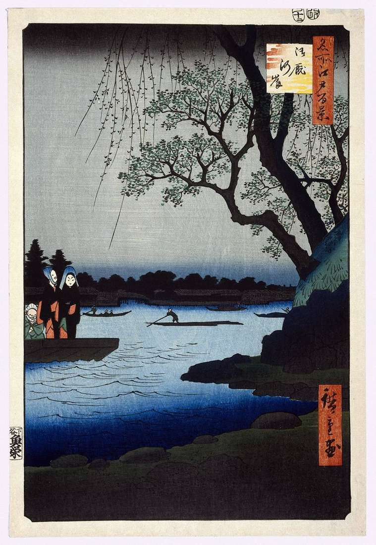 Embankment of Ommayagasi by Utagawa Hiroshige
