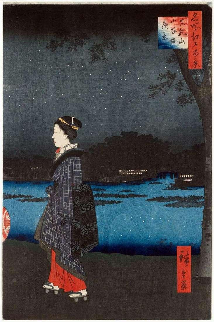 Night view of Matsutiyama and Canal of Sanyavori by Utagawa Hiroshige