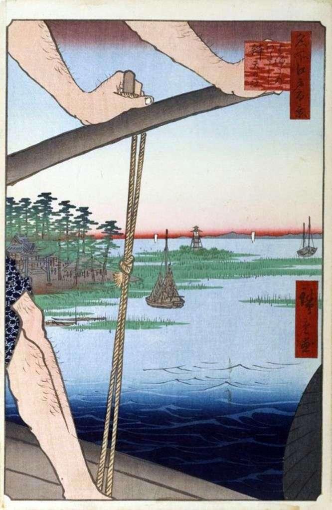 Crossing Haneda, the sanctuary of Benten by Utagawa Hiroshige