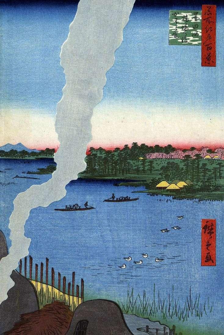 Furnaces for roasting at the crossing of Hasiba no Watasi on the Sumidagawa River by Utagawa Hiroshige