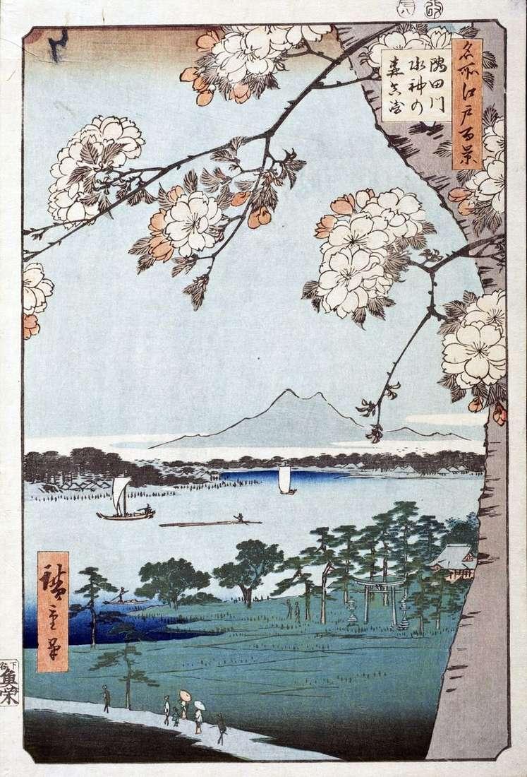Sanctuary of Suidzin no Mori and the locality of Massaki near the Sumidagawa River by Utagawa Hiroshige