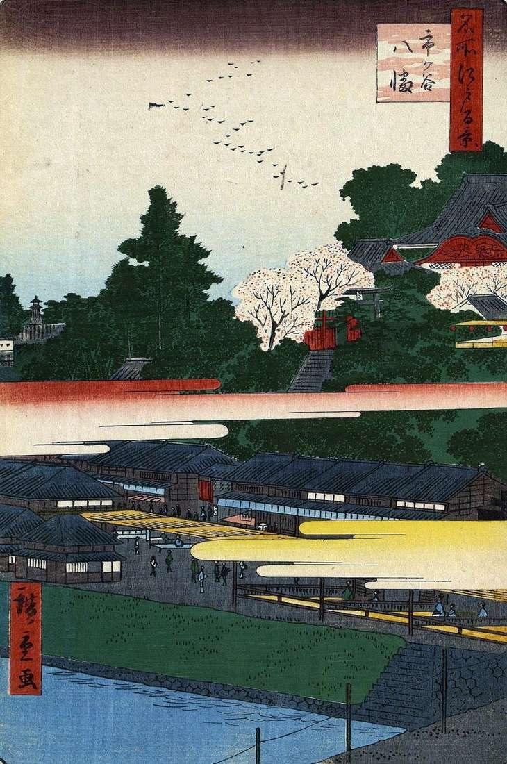 Hachiman sanctuary in Itigaya by Utagawa Hiroshige