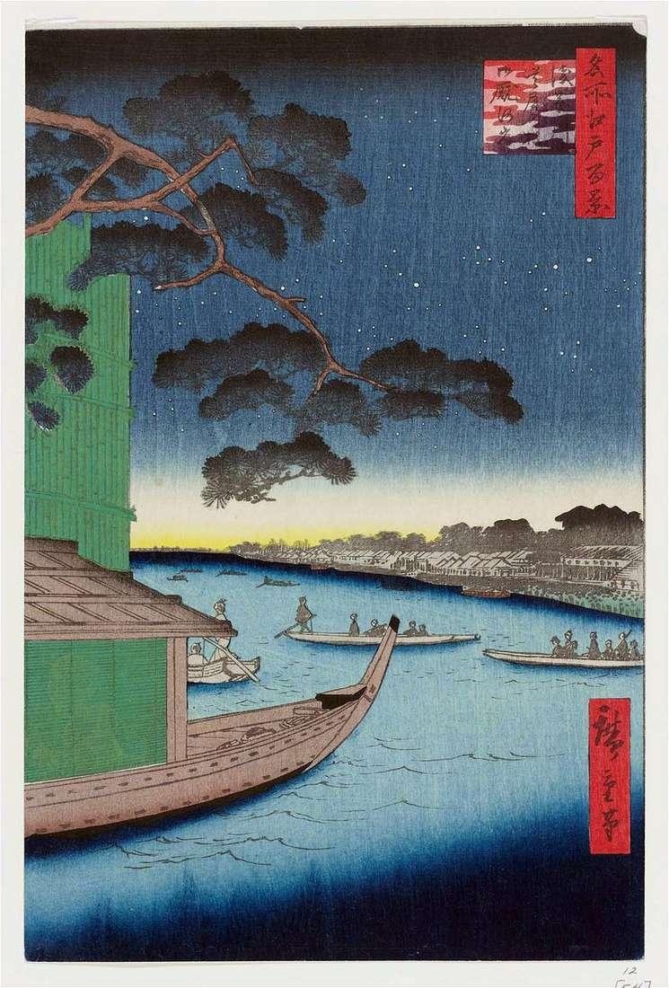 Pine Suube no matzo on the Asakusagawa River, the Ommayagashi Embankment by Utagawa Hiroshige