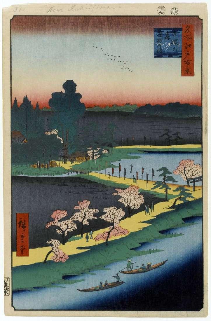 Agglomerated camphor trees at the sanctuary of Azuma no Mori by Utagawa Hiroshige