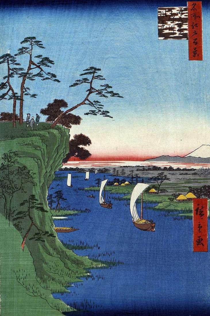 Konodai Hill, Tonegawa River by Utagawa Hiroshige