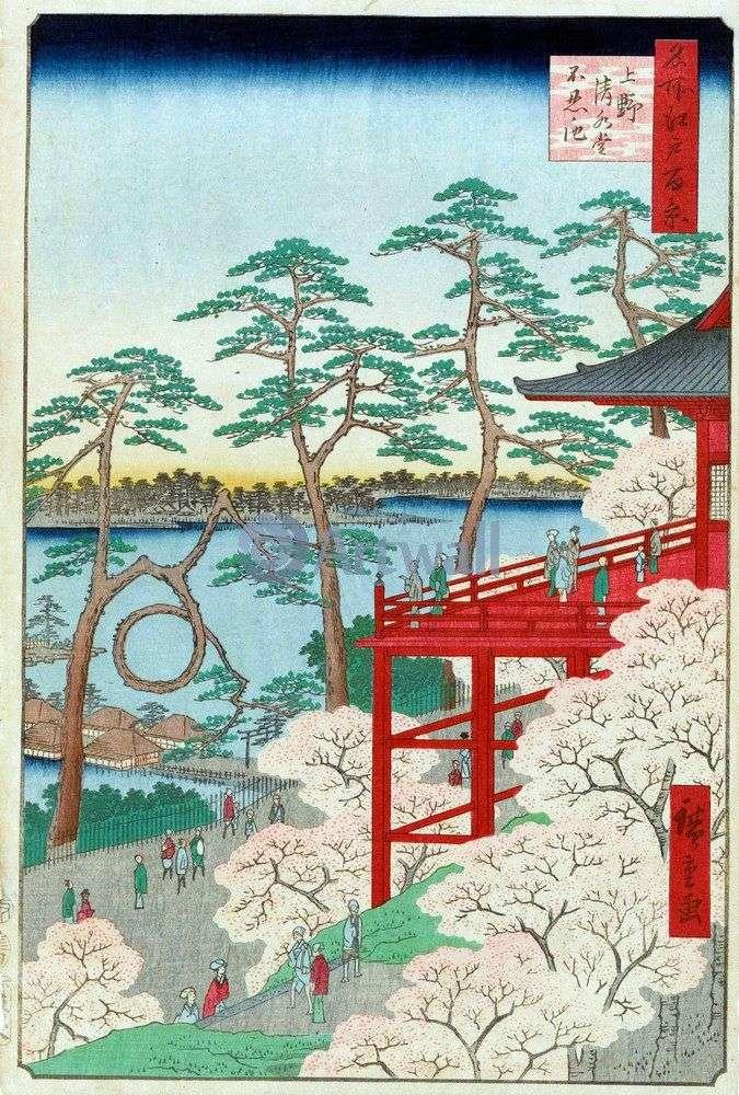 Kiyomizudo Temple and Sinobadzu no Ike Pond in Ueno by Utagawa Hiroshige