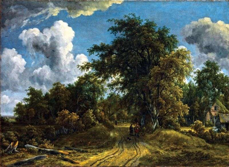 Road in the forest by Meindert Hobbema