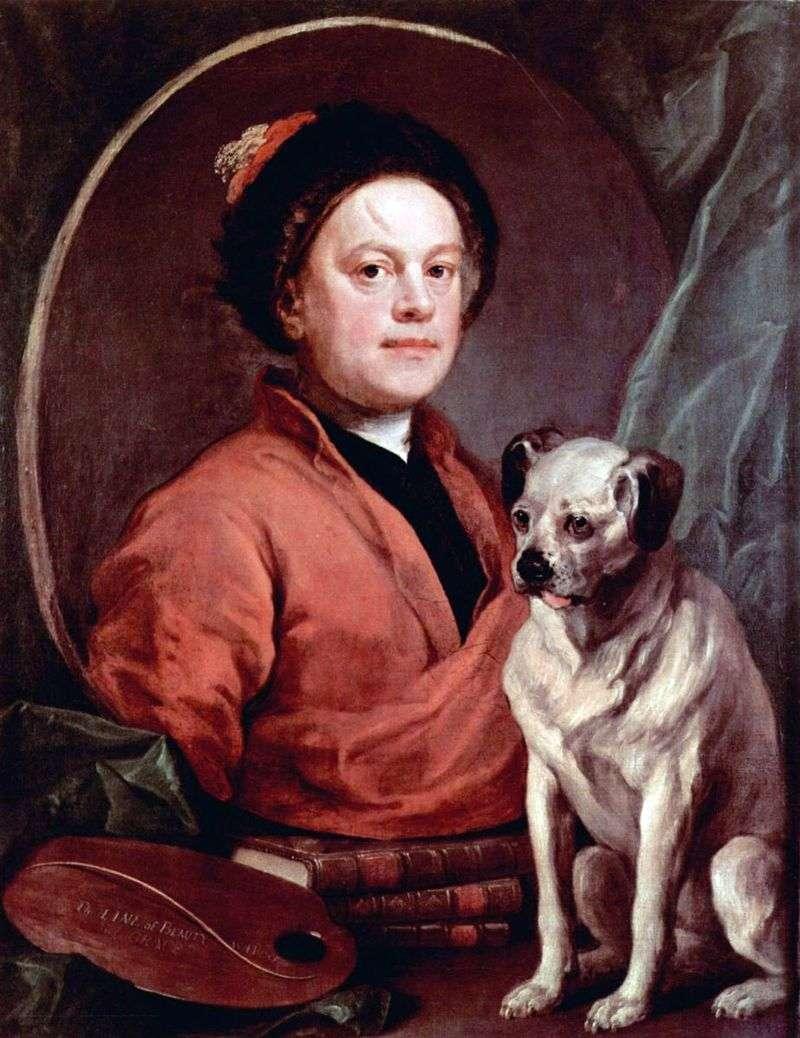 Self portrait with a dog by William Hogarth