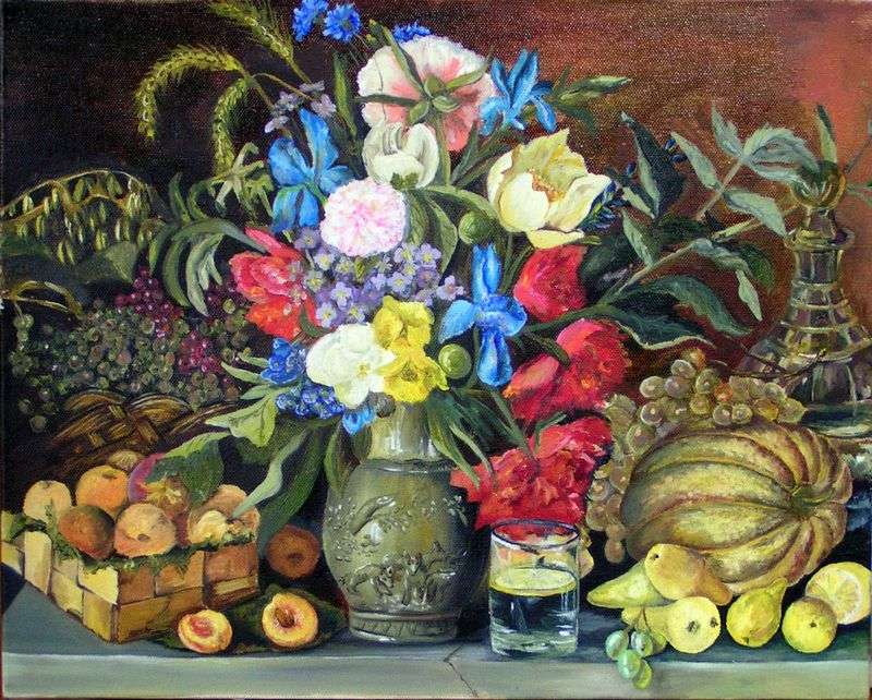 Flowers and fruits by Ivan Khrutsky