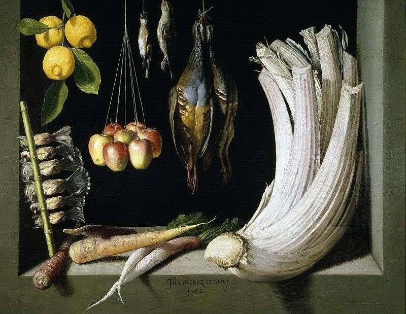 Still life with game by vegetables and lemons, Sanchez Juan Kotan