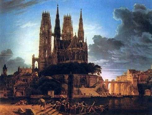 Gothic cathedral on the shore by Carl Friedrich Schinkel