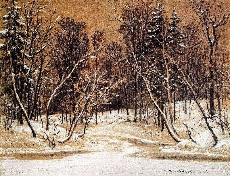 Forest in winter by Ivan Shishkin