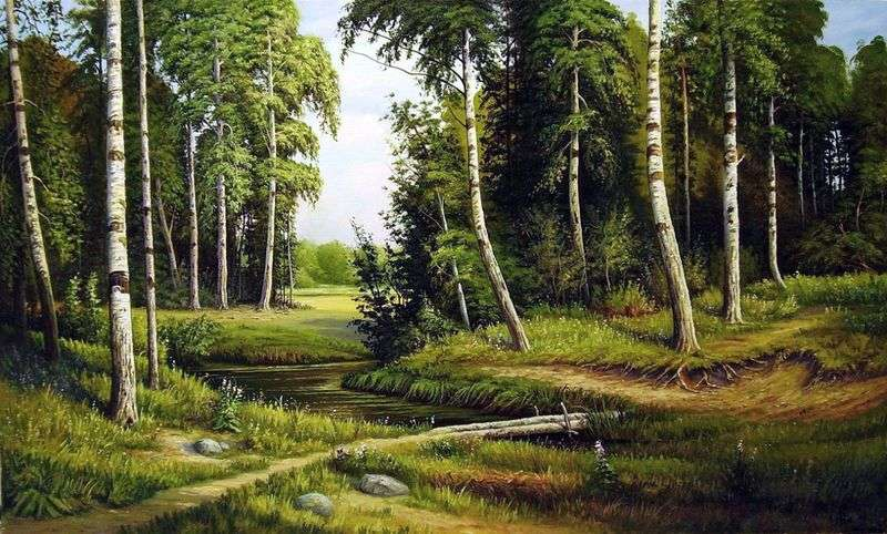 Brook in the birch forest by Ivan Shishkin