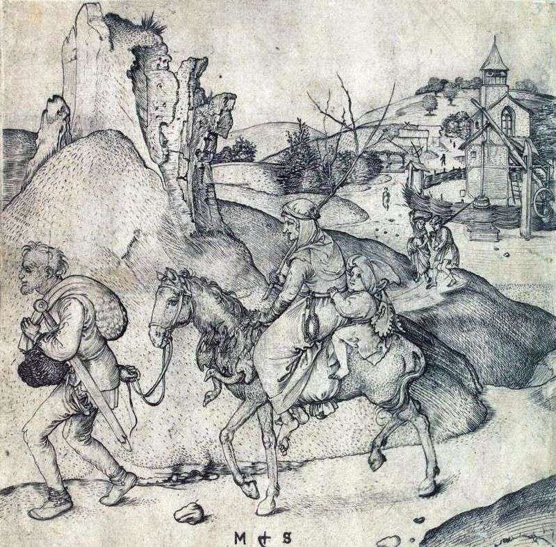 The peasant family on the way to the market by Martin Schongauer