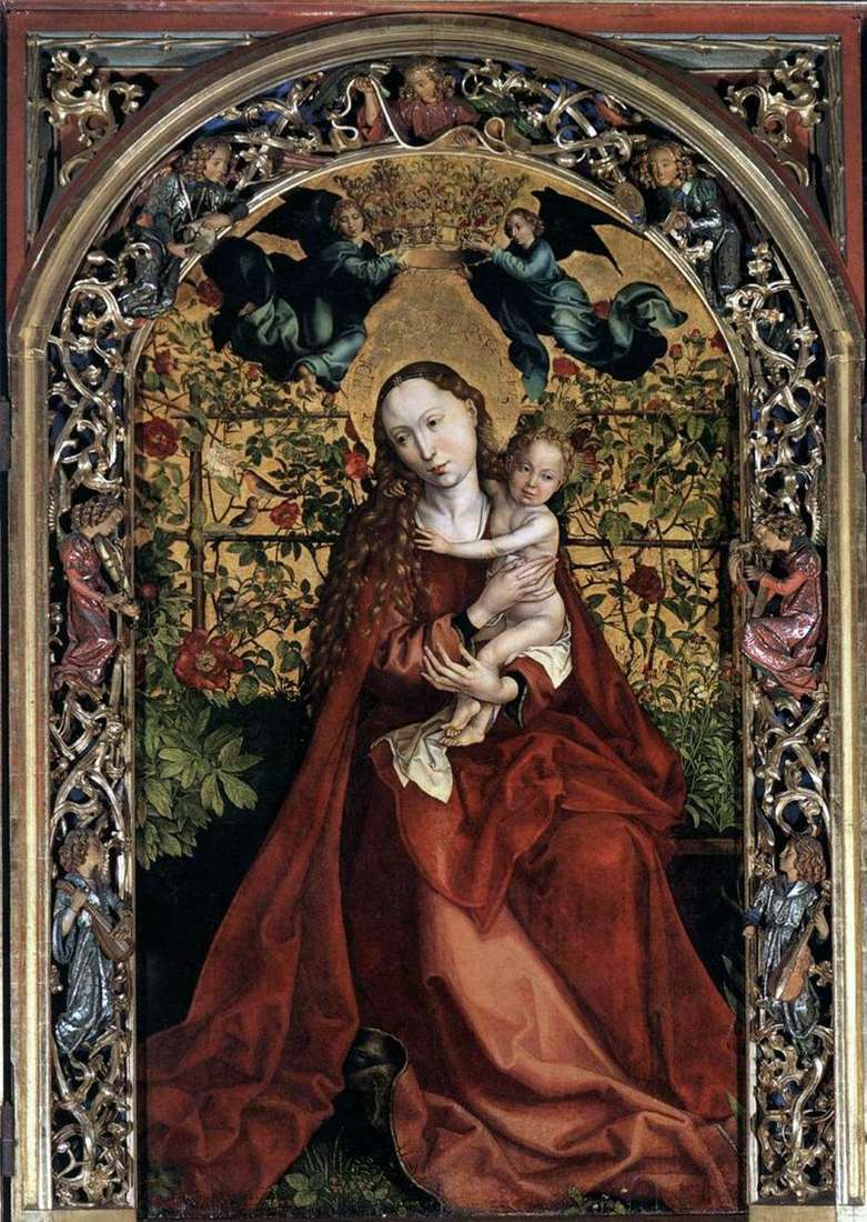 Madonna in a gazebo of roses by Martin Schongauer