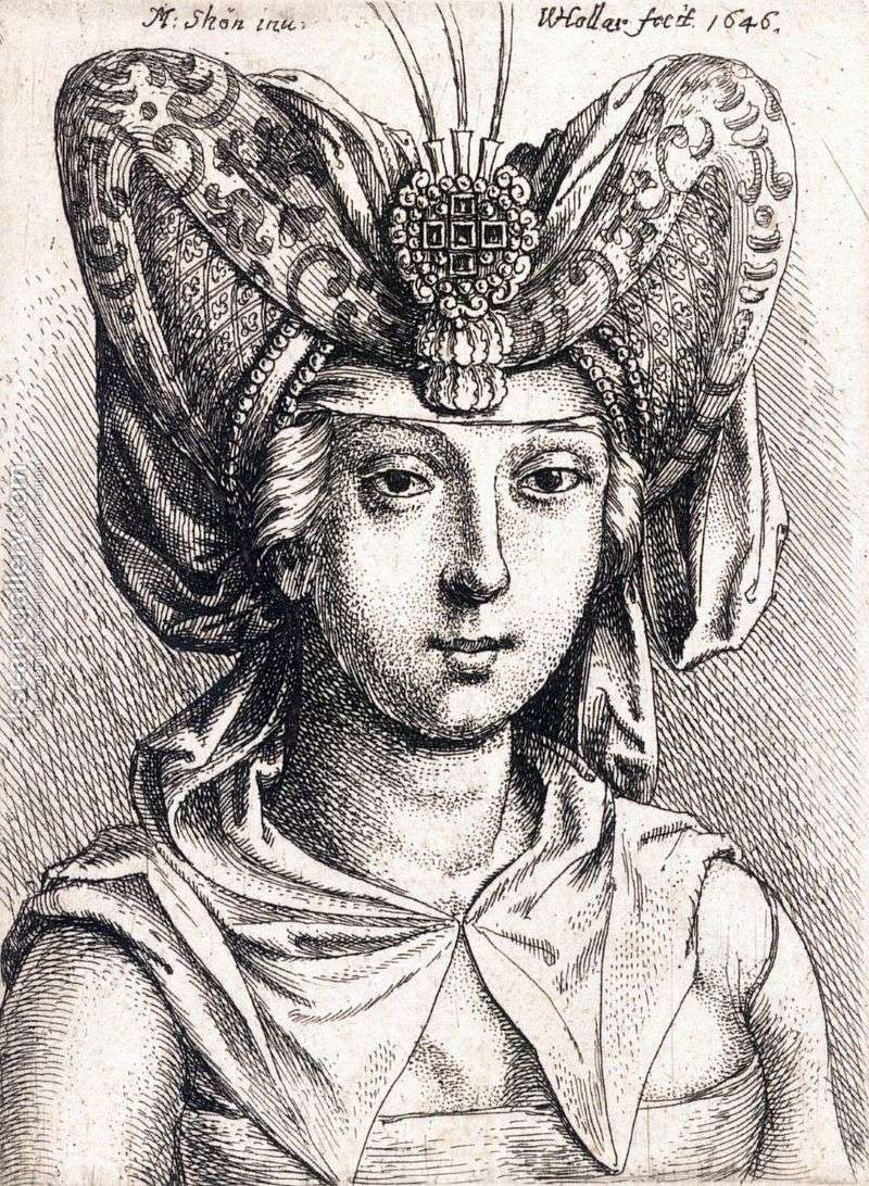 Portrait of a young woman in a turban by Martin Schongauer