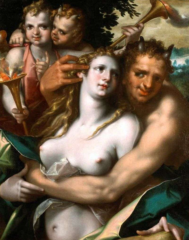Satyr and nymph by Bartholomeus Spranger