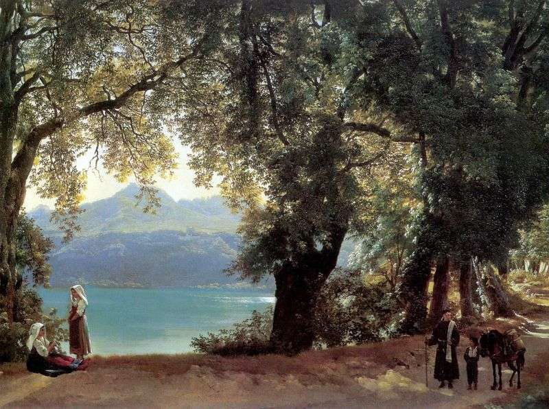 View of Lake Nemi in the vicinity of Rome by Sylvester Shchedrin