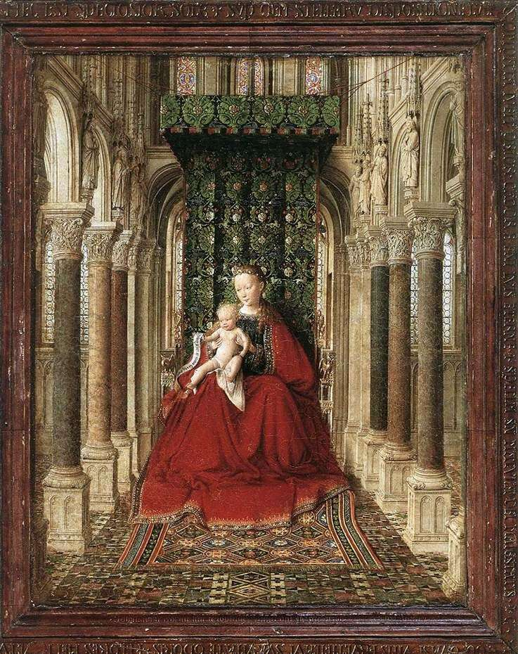 The Virgin with the Child on the throne in the temple by Jan van Eyck