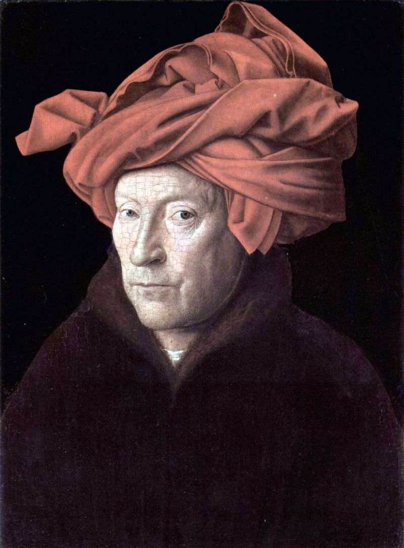 Self portrait (Portrait of a man in a red turban) by Jan van Eyck