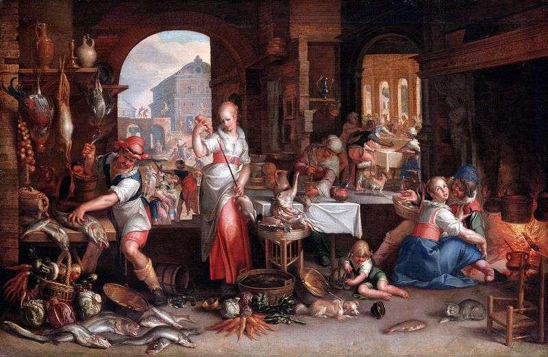 Scene in the kitchen by Joachim Eytale