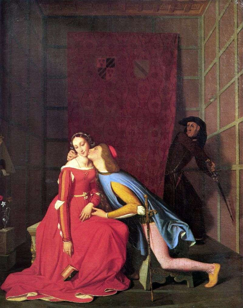 Gianchotto overtakes Paolo and Francesca by Jean Auguste Dominique Ingres