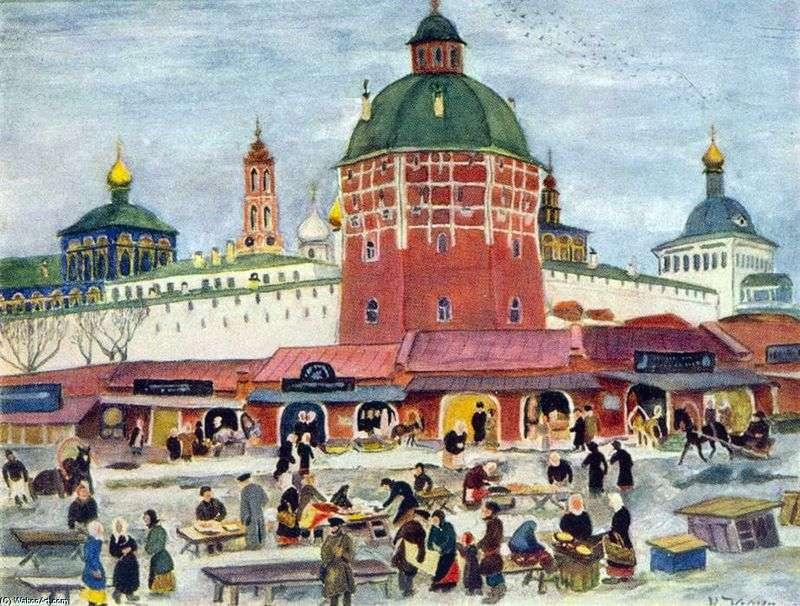Bazaar at the Trinity Sergius Lavra by Konstantin Yuon
