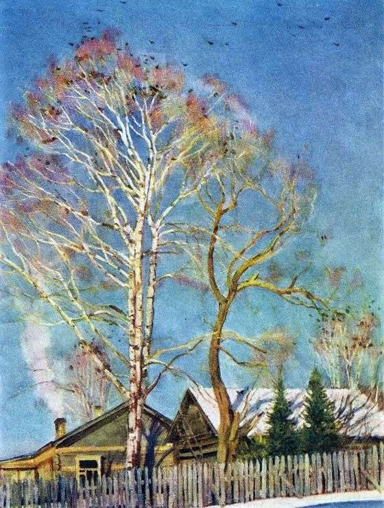 Blue morning. Rooks on birches by Konstantin Yuon
