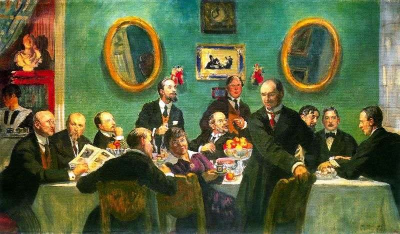 Group portrait of the artists of the World of Art by Boris Kustodiev