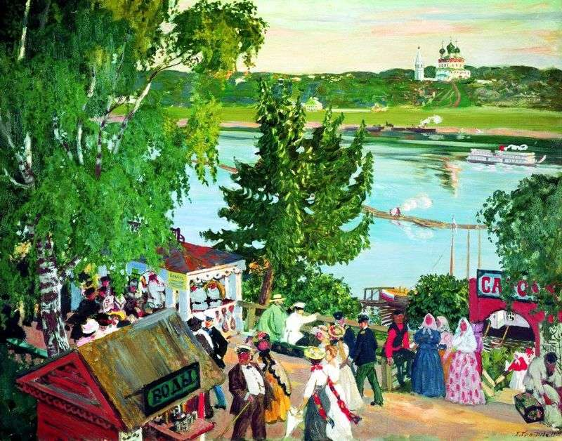 Walking on the Volga by Boris Kustodiev