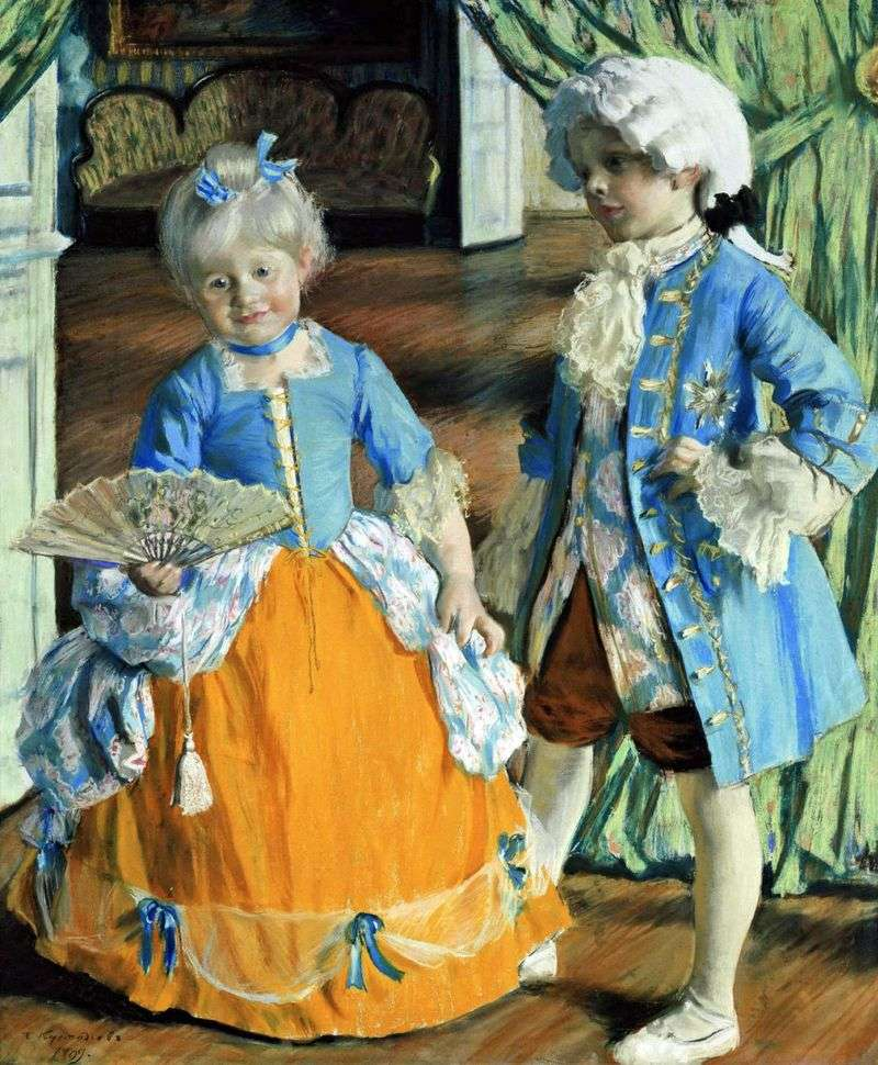 Children in fancy dress by Boris Kustodiev