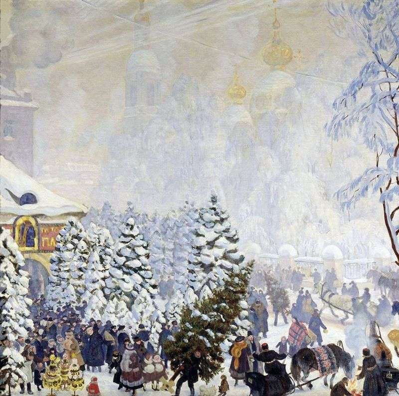 Christmas bargaining by Boris Kustodiev