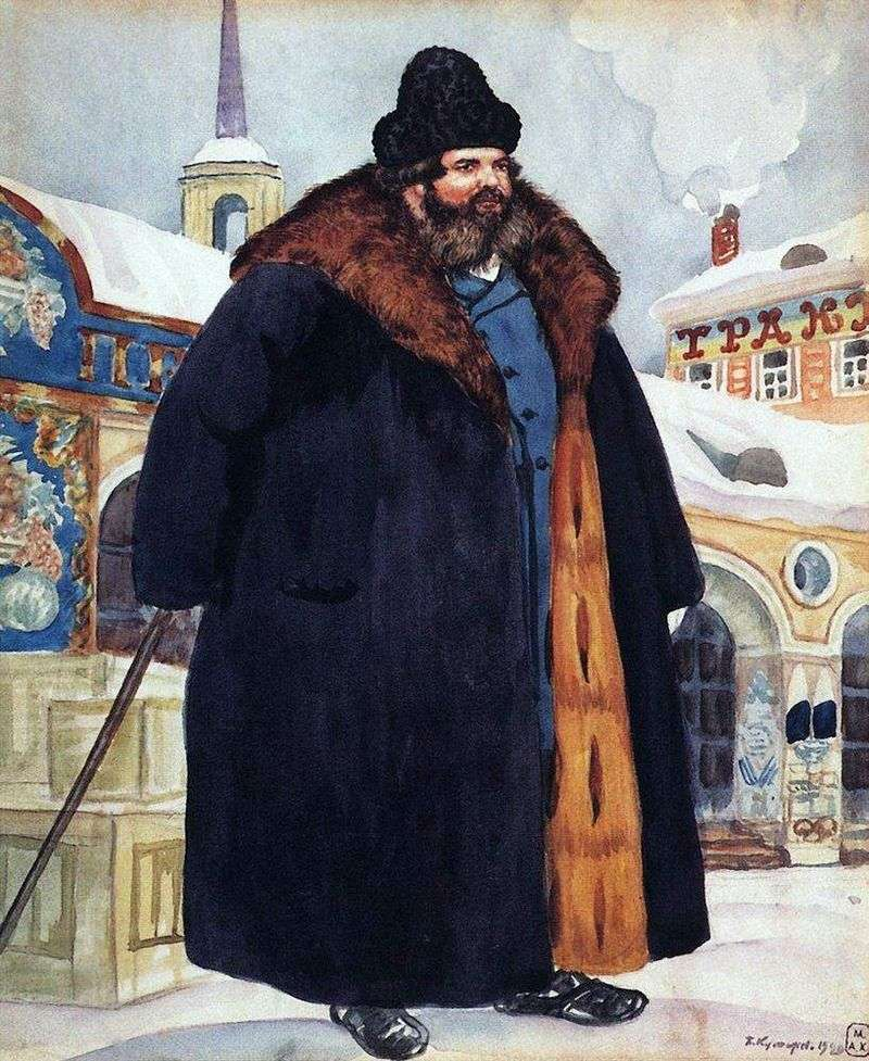 A merchant in a fur coat by Kustodiev