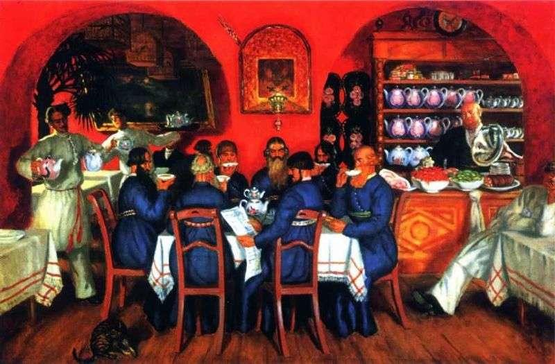 Moscow tavern by Boris Kustodiev