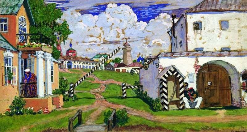 Square on the outskirts of the city by Boris Kustodiev