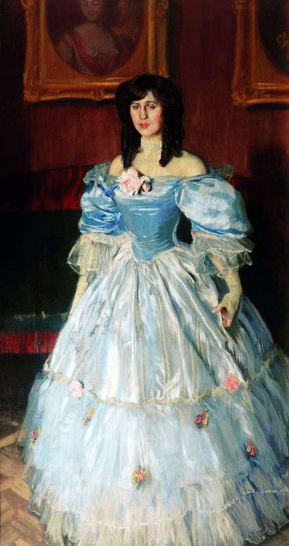 Portrait of a woman in blue by Boris Kustodiev
