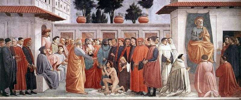 The resurrection of the son of Theophilus and the Apostle Peter in the department by Masaccio