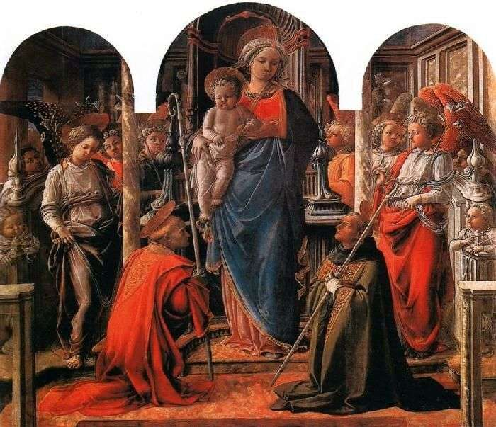 Madonna and Child, surrounded by angels, with Saints Frediano and Augustine by Filippo Lippi