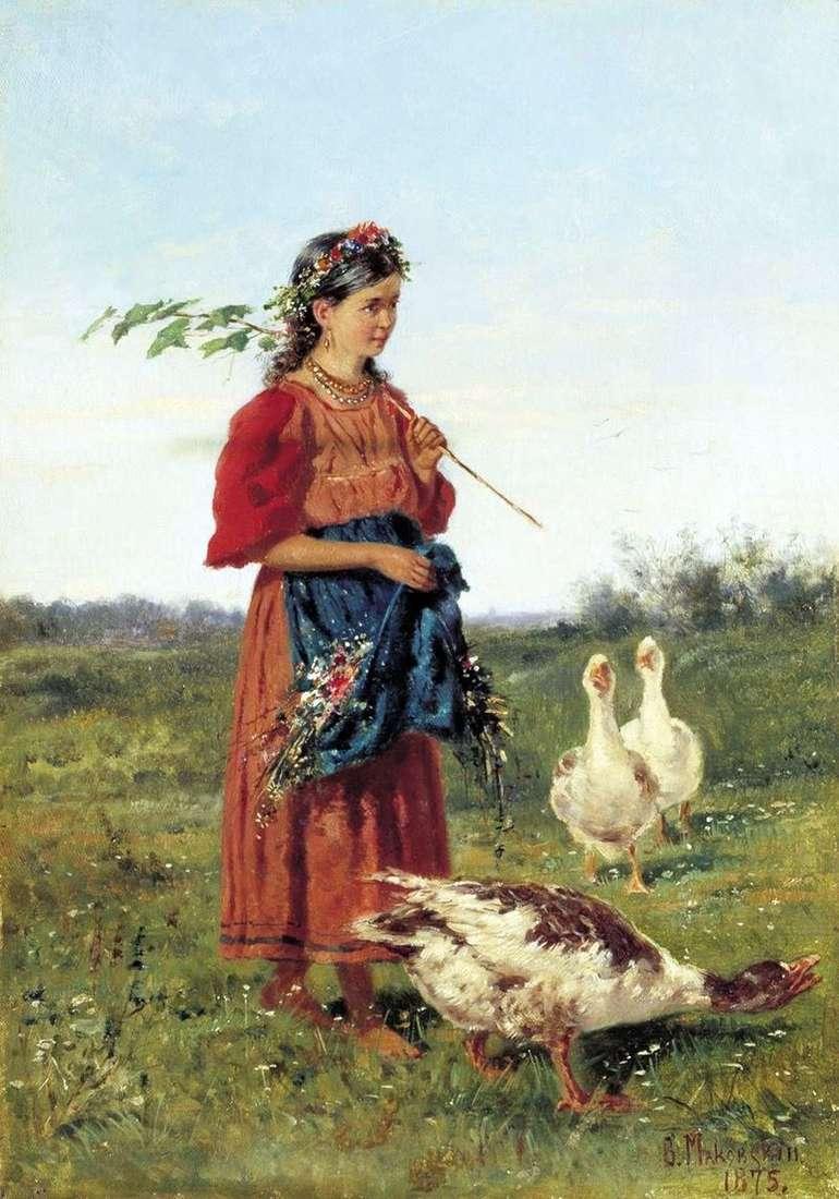 Girl with geese by Vladimir Makovsky