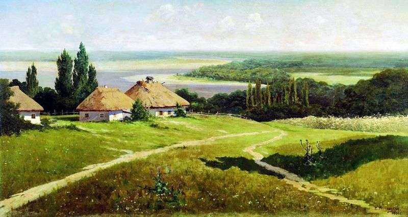 Ukrainian landscape with huts by Vladimir Makovsky