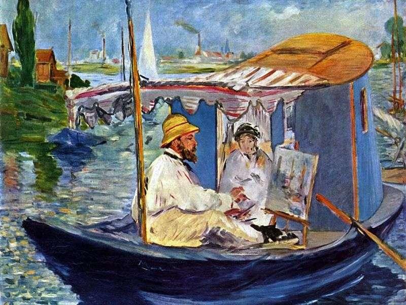 Boat Studio Claude Monet by Edouard Manet