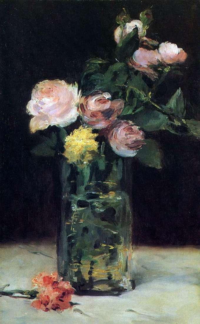 Roses in a Crystal Vase by Edouard Manet