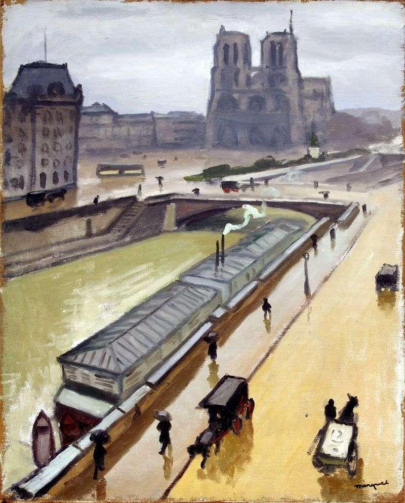 Rainy day in Paris. Notre Dame by Albert Marquet