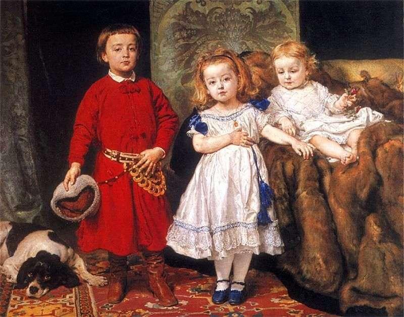 Portrait of the three children of the artist by Jan Aloizy Mateiko