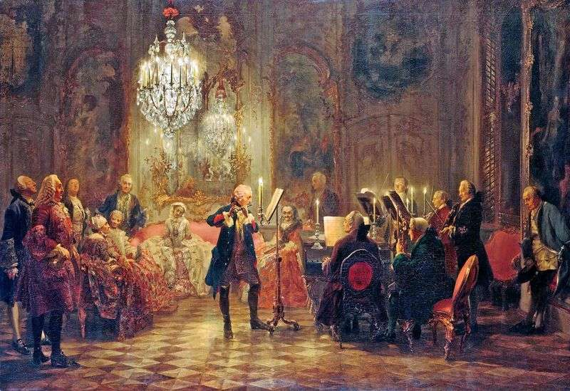 Concert of Frederick the Great in Sans Souci by Adolf Menzel